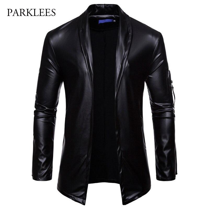 Brand Black PU Leather Suit Blazer Men Slim Fit Solid Color Cardigan Casaco Masculino Shiny Glitter Nightclub DJ Jaquetas Homens