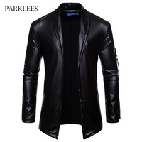 Brand Black PU Leather Suit Blazer Men Slim Fit Solid Color Cardigan Casaco Masculino Shiny Glitter Nightclub DJ Jaquetas Homens