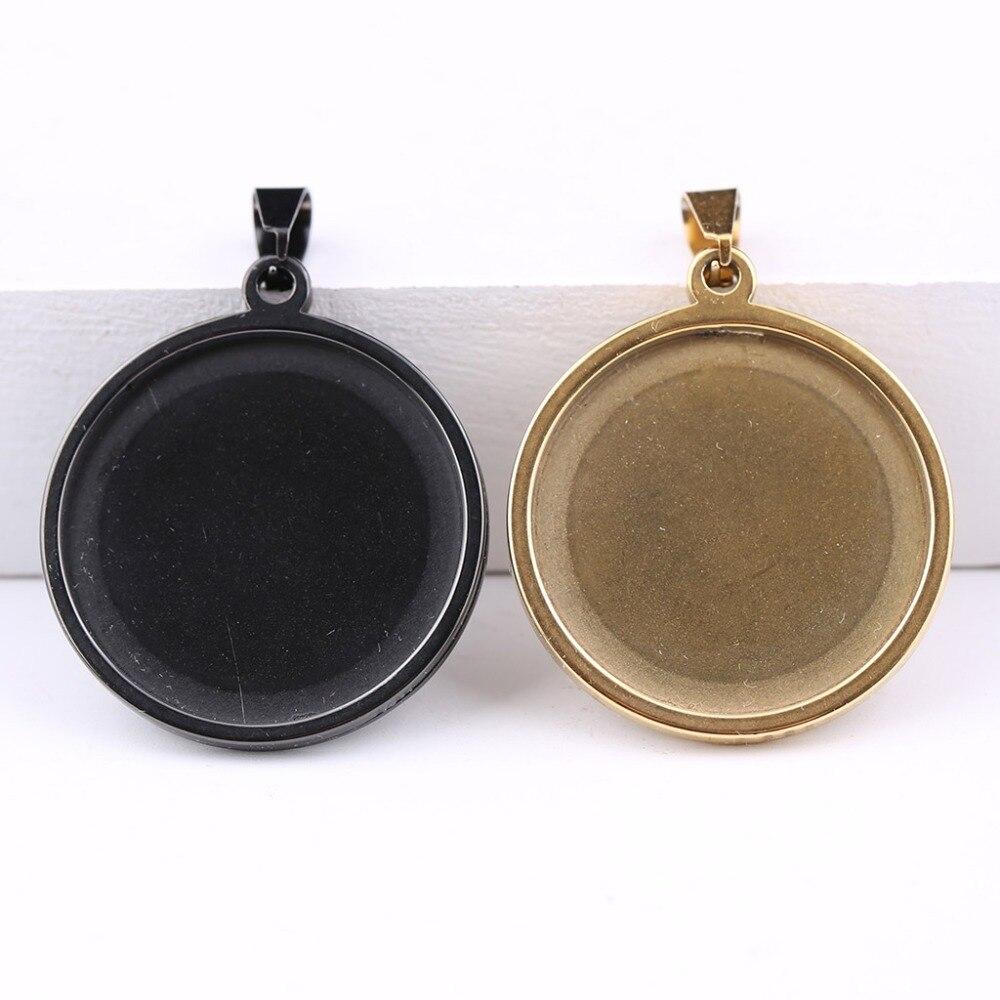 Onwear 10 pcs 25mm banhado a Ouro de aço inoxidável preto configurações da base cabochão moldura bandejas pingente em branco para jóias diy fazendo