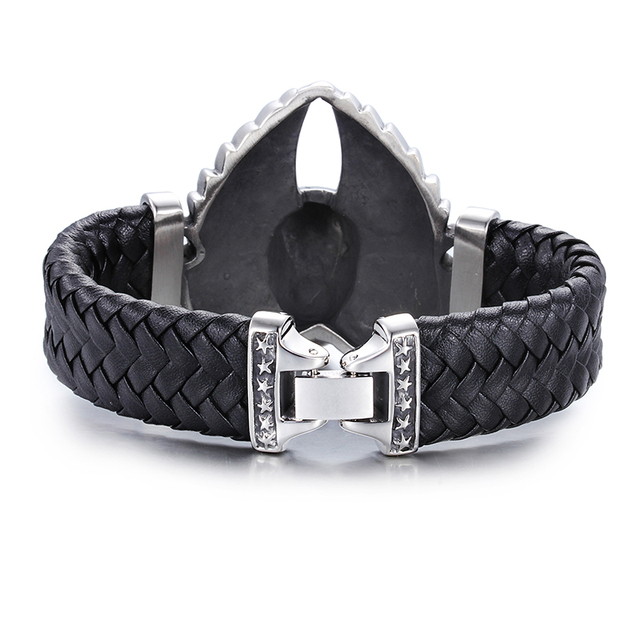 Skull Bracelet with Leather Band