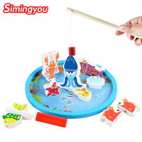 Simingyou Wooden Puzzle Magnetic Fishing Toy Game Kids 3D Fish Outdoor Fun Children Toys B40LKM03 Drop
