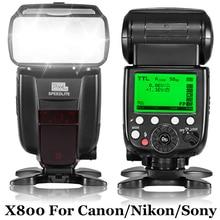INSEESI Standard X800C X800N X800S GN60 Trådlös TTL HSS Flsh Speedlite Sko Mount Speedlight För Canon Nikon Sony DSLR-kamera