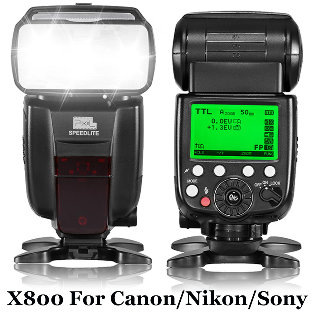 PIXEL X800C N S 2.4G Wireless GN60 Master/Slave TTL Camera Flash for Canon Nikon Sony Pentax DSLR Camera as Godox TT600 YN560III pixel m8 wireless universal speedlight flash light gn60 for canon nikon sony pentax fujifilm lumix dslr camera vs jy680a yn560iv