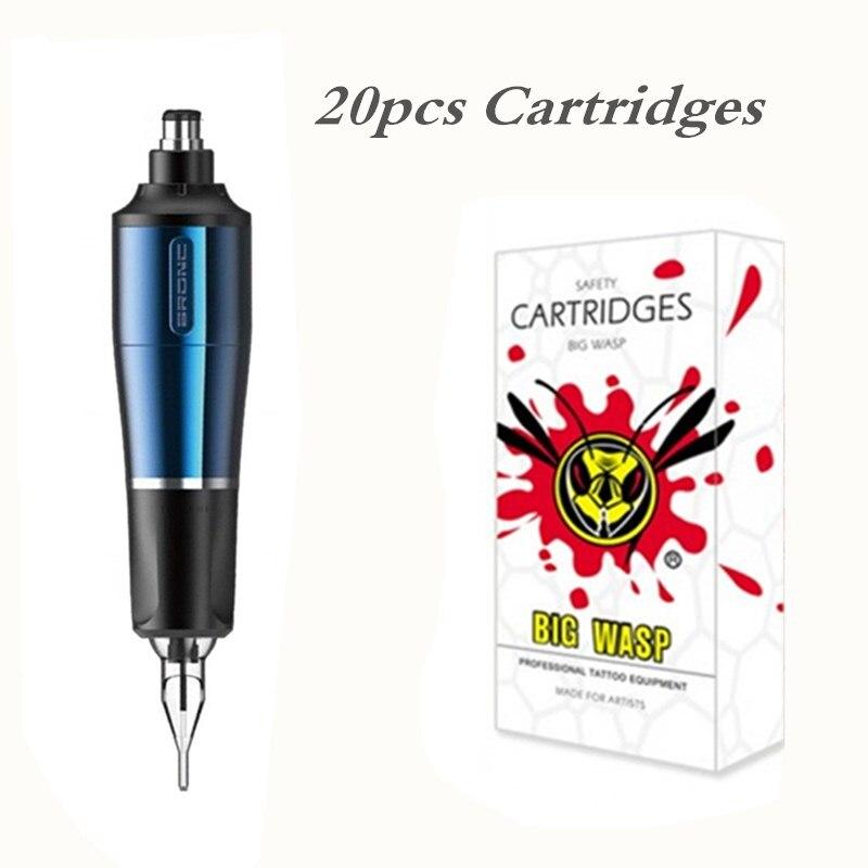BRONC Premium cartouche rotative tatouage Machine stylo Type bleu + libre une boîte cartouche aiguilles (20 pièces/boîte)
