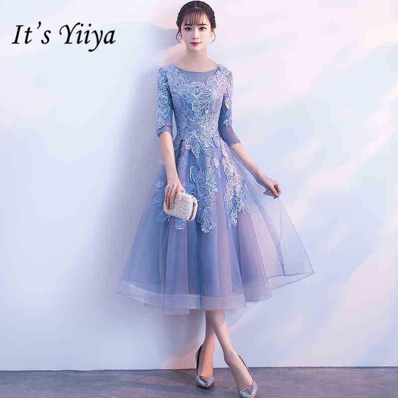 It's YiiYa Half Sleeve Blue Lace Bridesmaid Dresses Elegant O-neck Back Zipper A-line Dress Women Party Grown H178