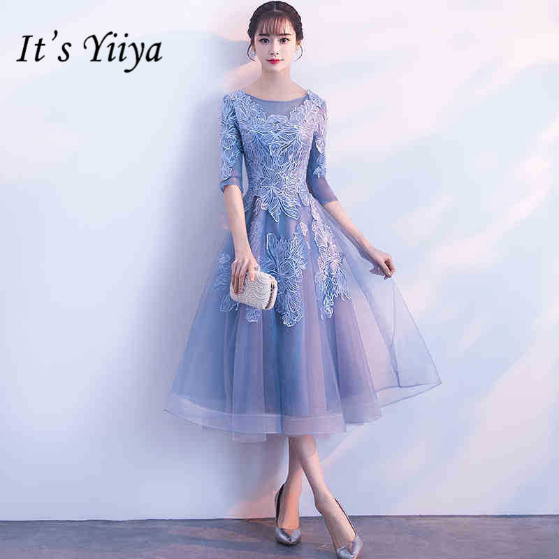 It's YiiYa Half Sleeve Blue Lace   Bridesmaid     Dresses   Elegant O-neck Back Zipper A-line   Dress   Women Party Grown H178