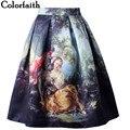 2016 virgen maría imprimir falda de las mujeres royal vintage retro fantasy pintura al óleo de la alta cintura falda de midi circle saia femininas sk031