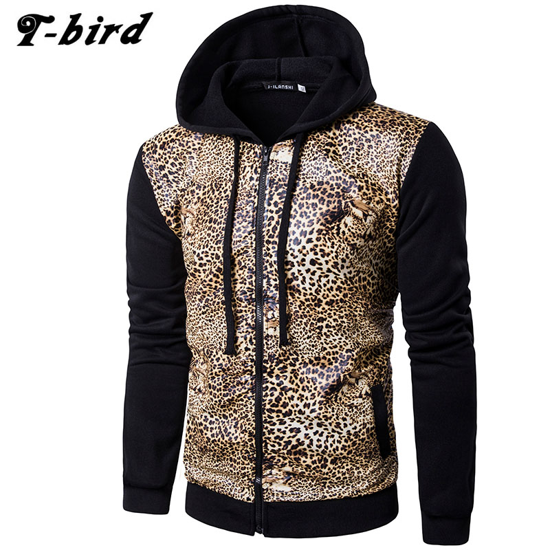 Hoodies Men 2017 Brand Male Long Sleeve Hoodie Leopard Tiger Skin Sweatshirt Mens Cardigan Moletom Masculino