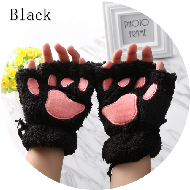 1Pair Women Winter Warm Fingerless Gloves Fluffy Bear Cat Plush Paw Claw Half Finger Gloves Mitten
