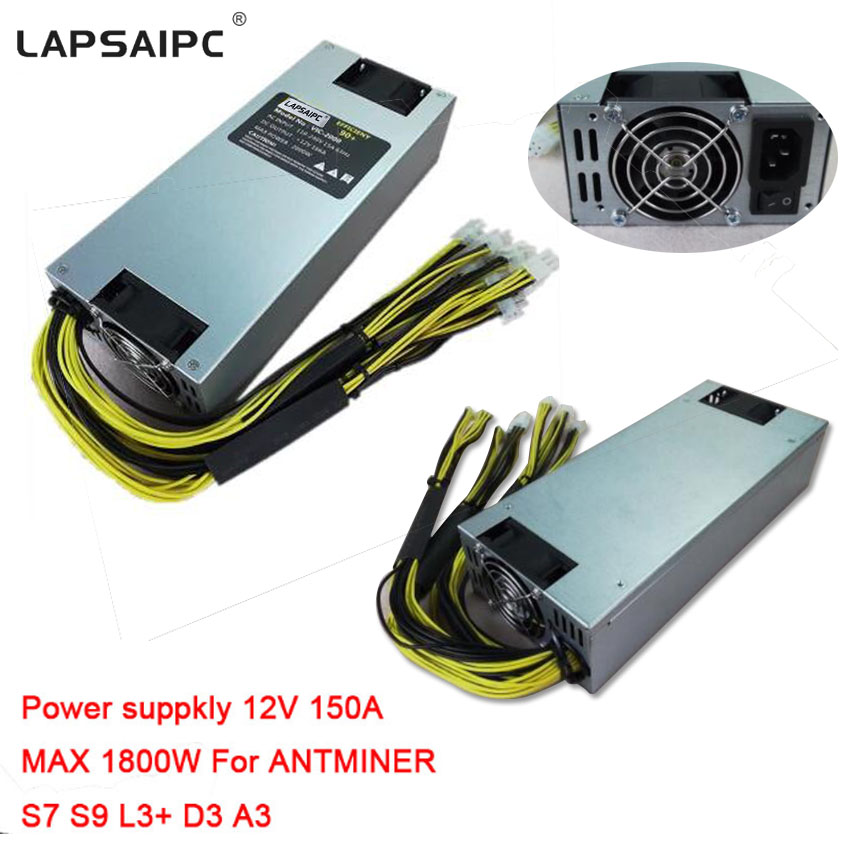 Lapsaipc 2018 NEW Style Power Supply 1800W MAX 150A 12V PSU 176-264V For DASH ANTMINER S7 S9 L3+ D3 A3 Baikal X10 Giant B ...
