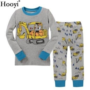 Hooyi Boy pajamas suit Long Sleeve Pajama Children pijama Kids Sleepwear clothes D nightgown 100% Cotton T-Shirt Pants Set 1