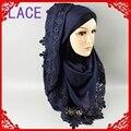 J12 cordón grande hijab, chal, bufanda, algodón viscosa, mejor que la viscosa 10 unids 1 lote, puede elegir los colores