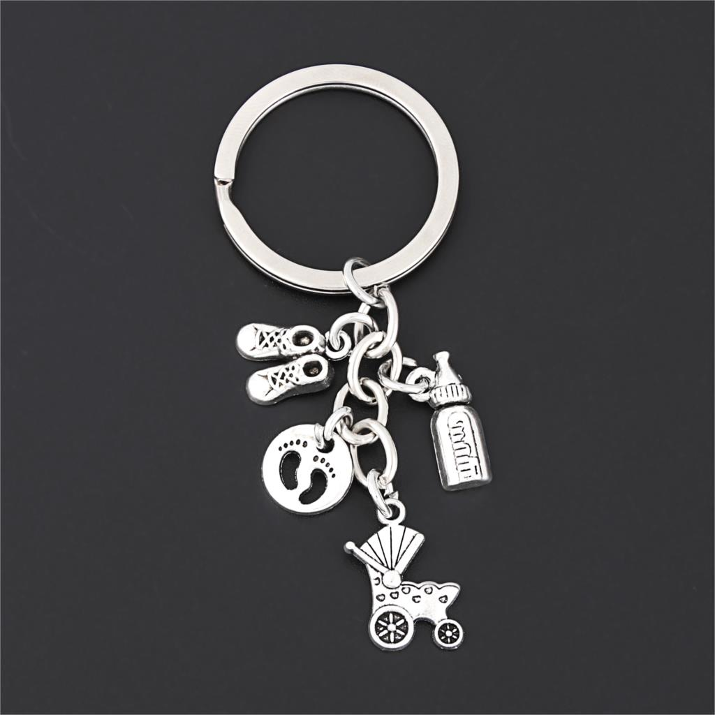 1Pc Vintage Baby Cart Milk Bottle Charms Keychain Mini Footprints Keyring Father And Mother's Day Gift Jewelry Supplies E2690