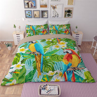 Tropical forests Bird Tree Printing Bedding Sets Leaves flower green Duvet Cover Set Twin Queen King Grey Bed Linens Pillowcases