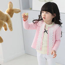 Cardigan jacket Girls Kids Lace Coat Long Sleeve Outwear Clothes Pink Lovely BTLOVE(China)