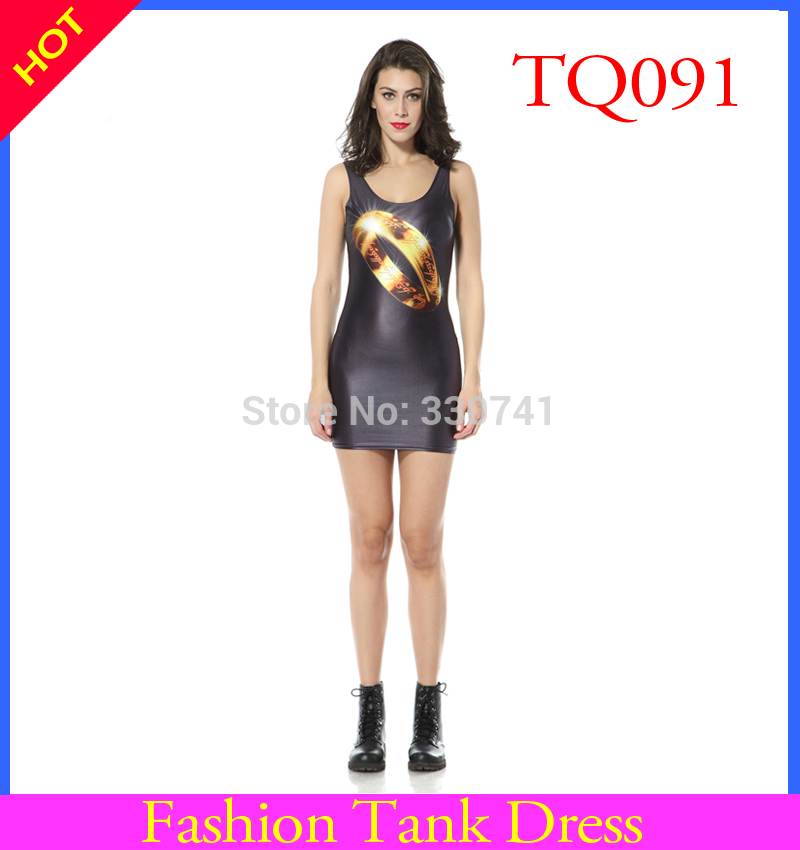 Summer dress 2017 Sexy Women Dress O-neck Sleeveless Tank Dress Black Milk 3D Print Dress With Golden Ring For Women TTQ1091
