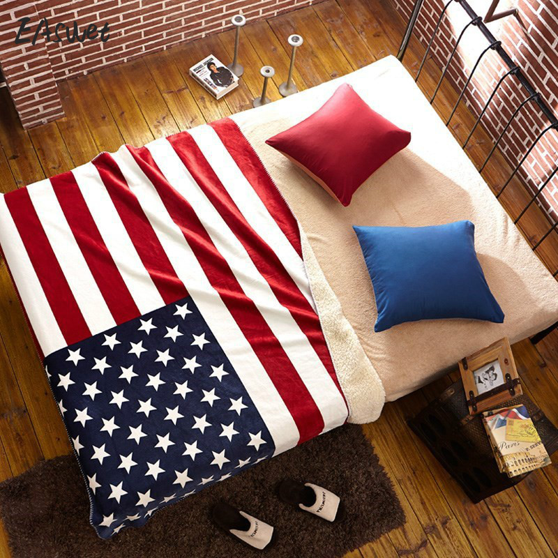 2017 New Coral Fleece Thick Warm American Flag Blanket British Flag Blanket Sofa Knee Nap Blankets TV Travel