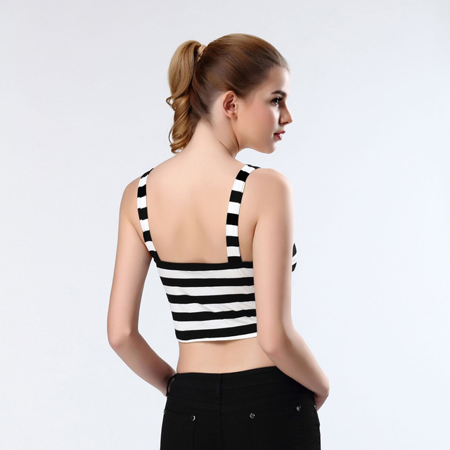 200PCS/LOT woman's elastic bandage top vest  balck and white color stripe spaghetti strap tight cute sweet singlet