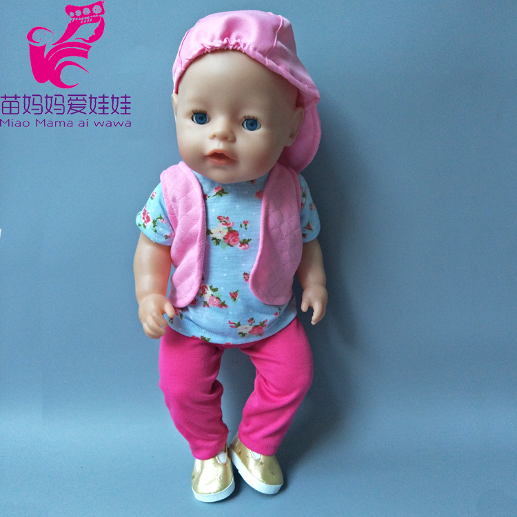 4 in 1 Set Casual Shirt And Pants Vest Cap suit set for 43cm Zapf dolls baby born doll clothes set play toy for girl summer set for 18 american girl doll bikini cap summer swimming suit with hat also fit for 43cm baby born zapf doll clothes