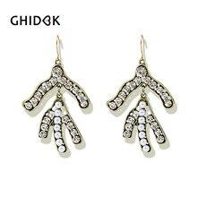 GHIDBK Baroque Clear Crystal Pearl Twig Drop Earrings for Women Vintage  Large Earrings Statement Chandelier Earrings Wholesale d885637d2bef