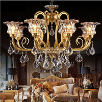 crystal chandelier villa duplex building living room chandelier hotel lobby lights all copper American staircase pendant lamps