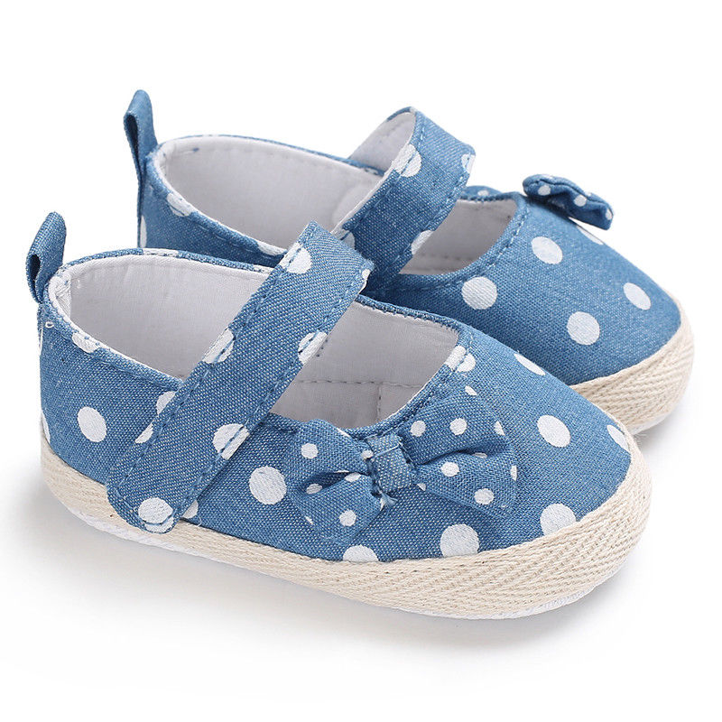 Newborn Baby Girl Shoes Cute Bow Blue Dot Print Princess Kid Anti-slip On Shoes  Toddler Crib Hook & Loop First Walkers
