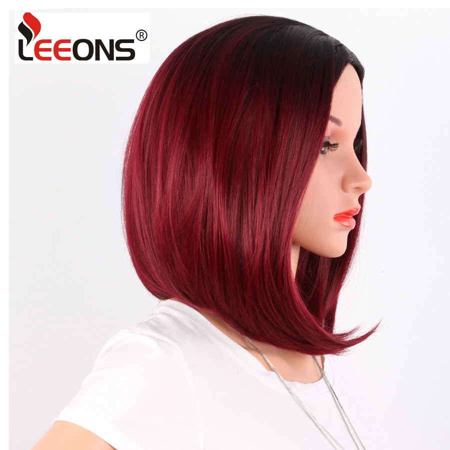 Leeons Two Tone Short Ombre Burgundy Wig Synthetic Kanekalon Fiber 14 Inch Gray Wigs For Women Black Bob Straight Hair