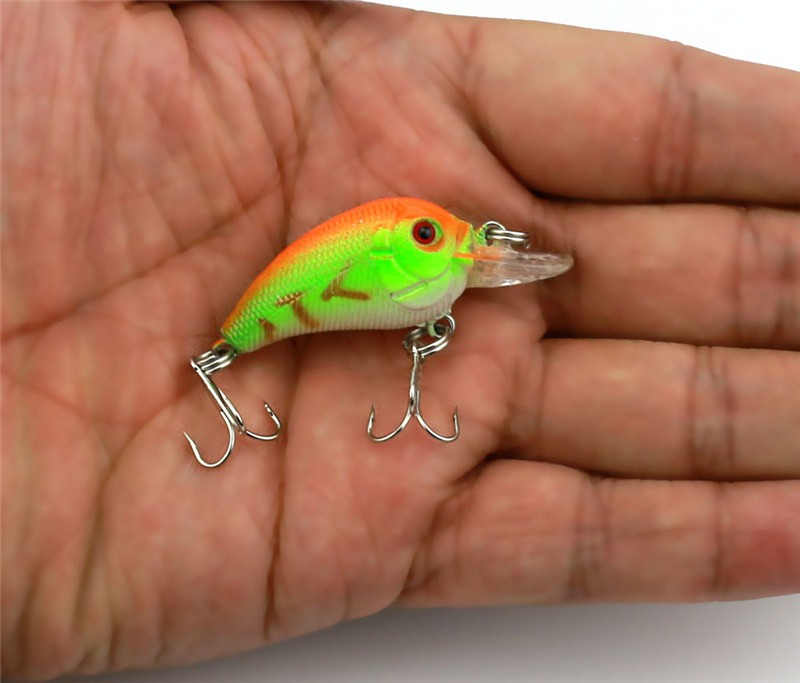 1x 4.5cm 4.2g Mini Fishing Lures Crank Baits 3d Fish Eye Simulation Minnow Crankbait Hard Plastic Laser Lure Bait Low Price (5)