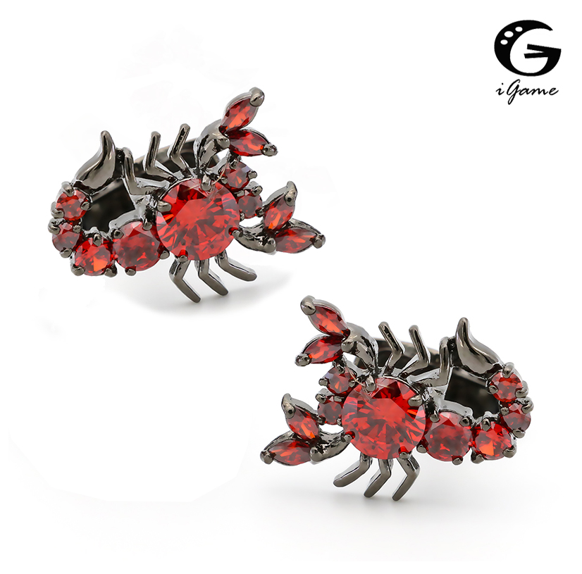 IGame Scorpion Cufflinks 2 Colors Option Cool Vintage Luxury Handmade Crystal Design Quality Brass Cuff Links