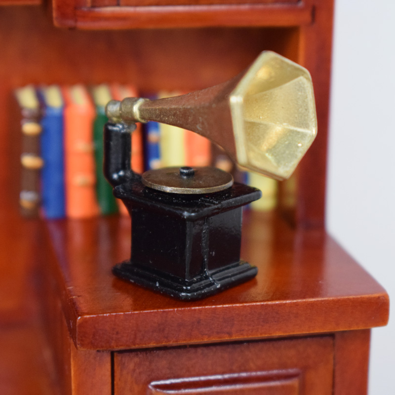 Responsible 1:12 Dollhouse Miniature Accessories Vintage Phonograph Family Furniture Gold+black Toys & Hobbies Doll Houses