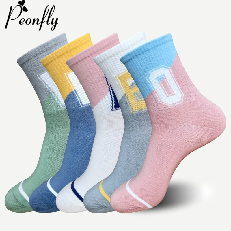 PEONFLY High Quality Men Socks Cotton Socks Unique Style Vertical Stripes Socks Man Hipster Funny Letter Stitching Short Socks