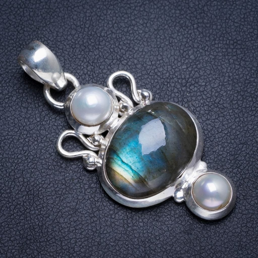 Natural Blue Fire Labradorite and River Pearl Handmade Unique 925 Sterling Silver Pendant 1.75 Y5238Natural Blue Fire Labradorite and River Pearl Handmade Unique 925 Sterling Silver Pendant 1.75 Y5238