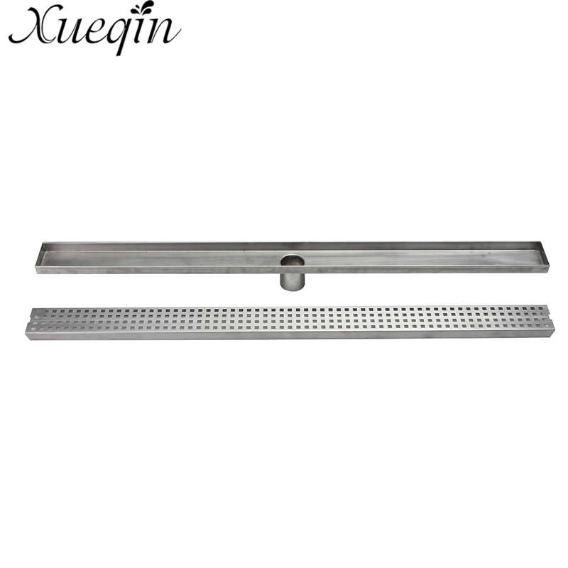 Xueqin 900mm Floor Drain Stainless Steel 304 Linear Shower Grate Floor Drain Vertical Long Drain Flange Bathroom Floor Drains mayitr stainless steel linear shower ground floor drain grate mesh sink strainer bathroom tool 900mm
