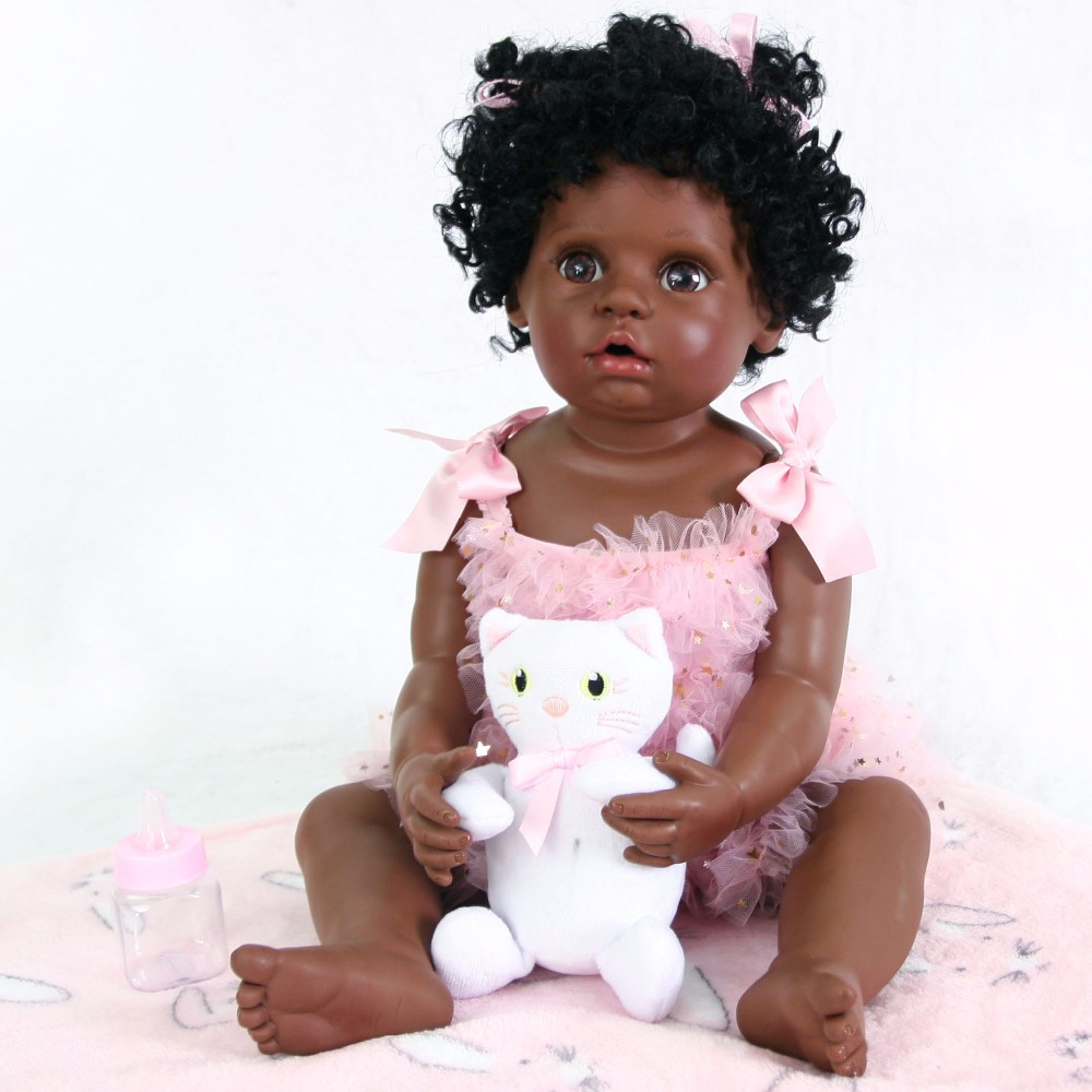 55cm Full Silicone Black Skin Reborn Baby Doll Toy For Girl Boneca Vinyl Newborn Babies Cute Birthday Gift Alive Bebe Bathe Toy cute truly newborn doll 23 inch fashion baby toy realistic full vinyl silicone babies doll handmade gift for girl reborn boneca