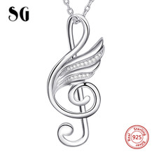 100% 925 sterling silver musical note wing chain pendant&necklace with Cubic Zirconia diy fashion jewelry making for lover gifts 925 sterling silver jewelry necklace pendant retro evil vajra pestle jiangmo avoid evil spirits musical instruments