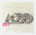 Fashion 50*20mm rectangle DST rhinestone brooch pin silver women delta style lapel for wearing sorority greek item 1pcs,OGB007-1