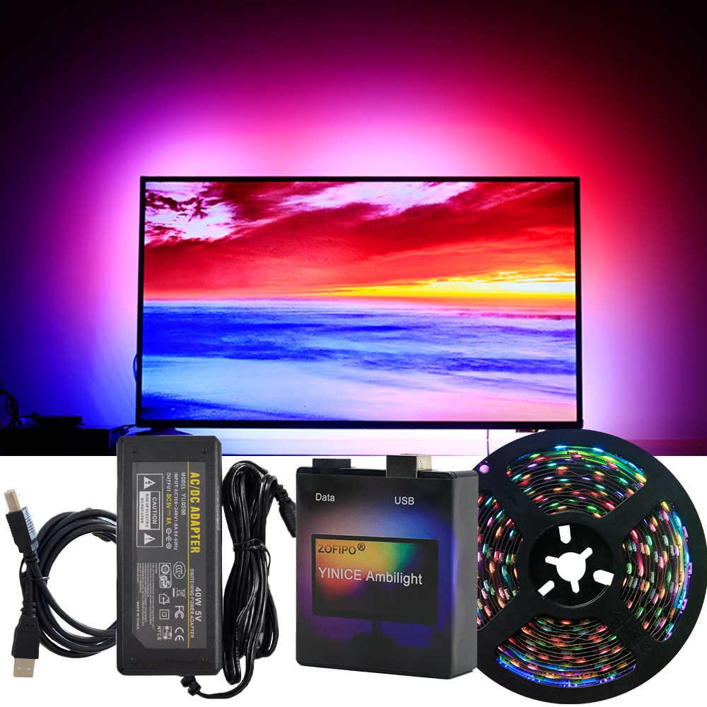 1M-5M RGB WS2812B Ambilight LED-Streifen USB 5V PC Desktop Dream Screen Monitor