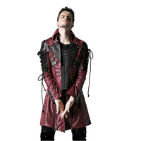 Winter Punk Man Long Sleeve Poison Jacket Mens Gothic Rock Red Black Faux Leather Goth Steampunk