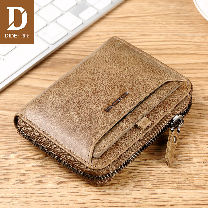DIDE Wallet Male Card-Holder Short Coin-Purse Cowhide Vintage Designer Genuine-Leather