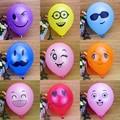 """10 unids Impreso Big Eyes Sonriente Globo de Aire 10 """"Globos 12 Colores Decorativo Fiesta de Cumpleaños Del Banquete de Boda De Látex Inflable bolas"""