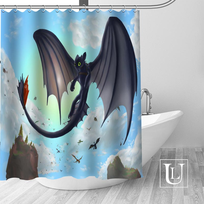 High Quality Custom How To Train Your Dragon Shower Curtain Polyester Fabric Bath Hooks Mildew Resistant 1PC