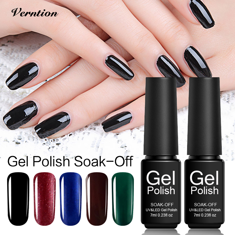 Black Gel Nail Polish: Verntion Acrylic Gel Varnish Black Color Gel Nail Polish