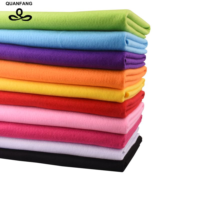 QUANFANG 10pcs/lot 2mm Thickness Felt Fabric Non Woven Polyester Soft Home Decoration Pattern DIY Bundle Sewing Dolls Crafts