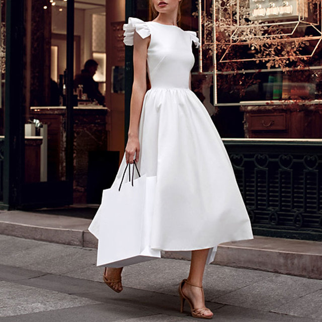 Autumn Winter Women Dress Sleeveless O Neck Solid Color High Waist Lady Party Long Dresses BMF88 5