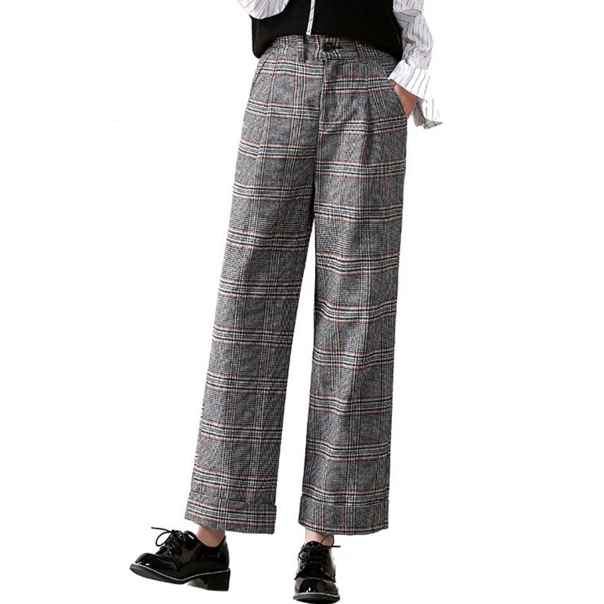 Spring women casual   pants   plaid woolen trousers loose   wide     leg     pants