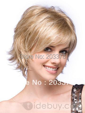 Graceful Celebrity Hairstyle Short straight Blonde Perfect Wig (Free Shipping)