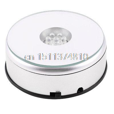 LED Light Turntable Electric Light Rotating Base Crystal Display Stand+Wire