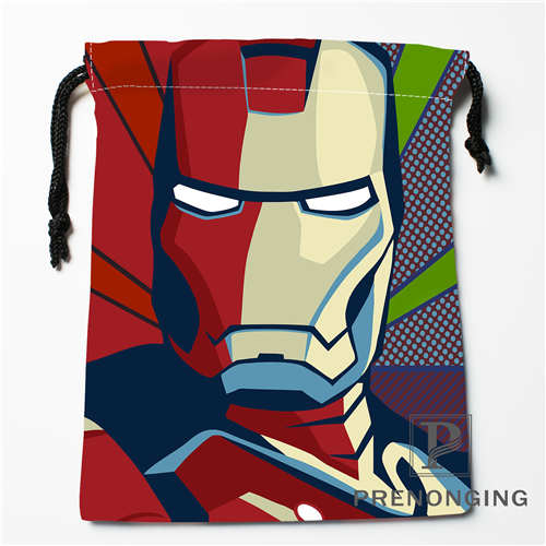 Custom Iron Man Print Drawstring Bags Printing Fashion Travel Storage Mini Pouch Swim Hiking Toy Bag Size 18x22cm #171203-04-02