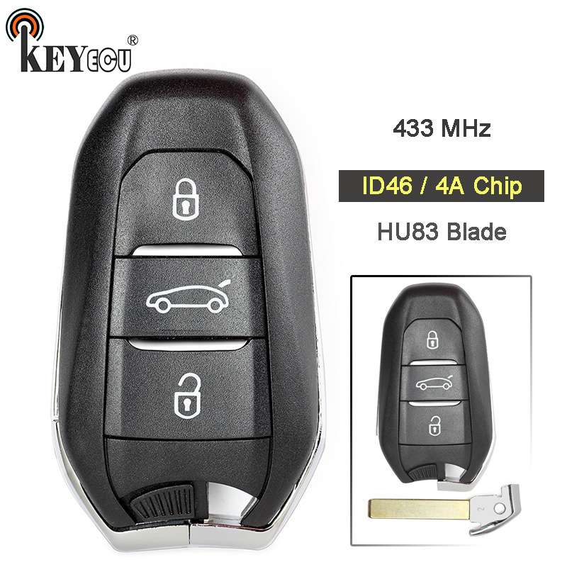KEYECU for <font><b>Peugeot</b></font> 434MHz PCF7945 ID46 / 4A Chip Smart Remote Car <font><b>Key</b></font> Fob 3 Button for <font><b>Peugeot</b></font> 301 308 408 <font><b>4008</b></font> 508 5008 HU83 image