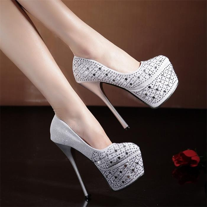 2018 Spring and Autumn Aew 15cm Super High Night Sexy Shoes Water Drill thin and shallow Waterproof Table Round Top Womens Shoe2018 Spring and Autumn Aew 15cm Super High Night Sexy Shoes Water Drill thin and shallow Waterproof Table Round Top Womens Shoe